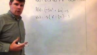 Writing a quadratic function in vertex form