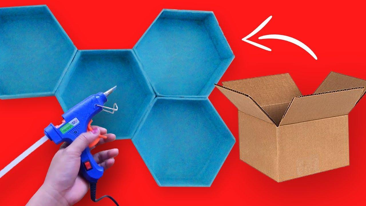 Hexagon Wall Shelf Diy Wall Decor Ideas Cardboard Box