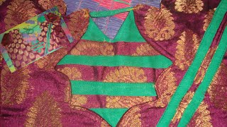 south indian pink benaras vankula blouse design with matching green colour cloth patch