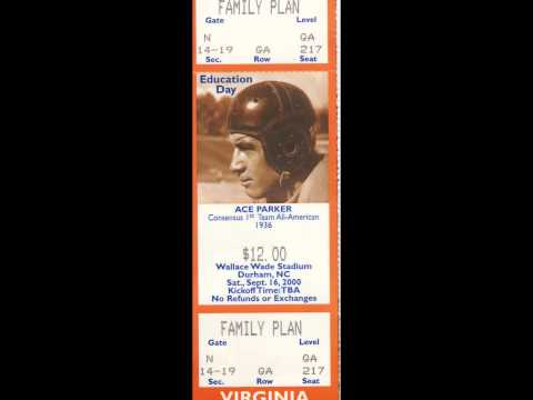 Ace Parker/Football Game Family Plan Ticket Duke-Virginia (Saturday, September 16, 2000)