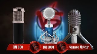 Фото Versus BM800 VS BM8000 VS Samson Meteor Лучший микрофон для ютубера