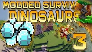 Minecraft: Modded Dinosaur Survival Let's Play w/Mitch! Ep. 3 - SO MANY DIAMONDS!