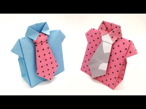 Shirt with Tie Gift Box - DIY Tutorial by Paper Folds - 998