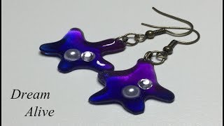 Resin Art Jewelry 레진아트 액세서리 - 아메바 귀걸이 Ameba earring