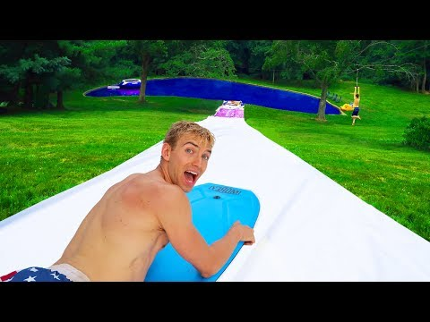 WORLDS BIGGEST BACKYARD WATERSLIDE!!