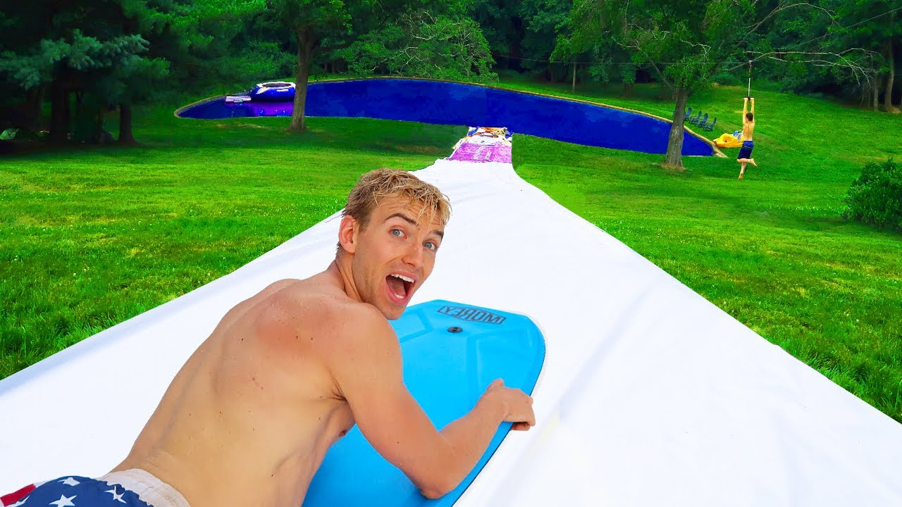 worlds biggest backyard waterslide youtube