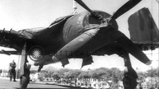 Arrival of US aircraft aboard a carrier to aid Indochina during the Indochina War...HD Stock Footage