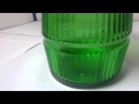 Hoosier Glass Company Dark Green Glass Vase Straight Rib Model 4089-B
