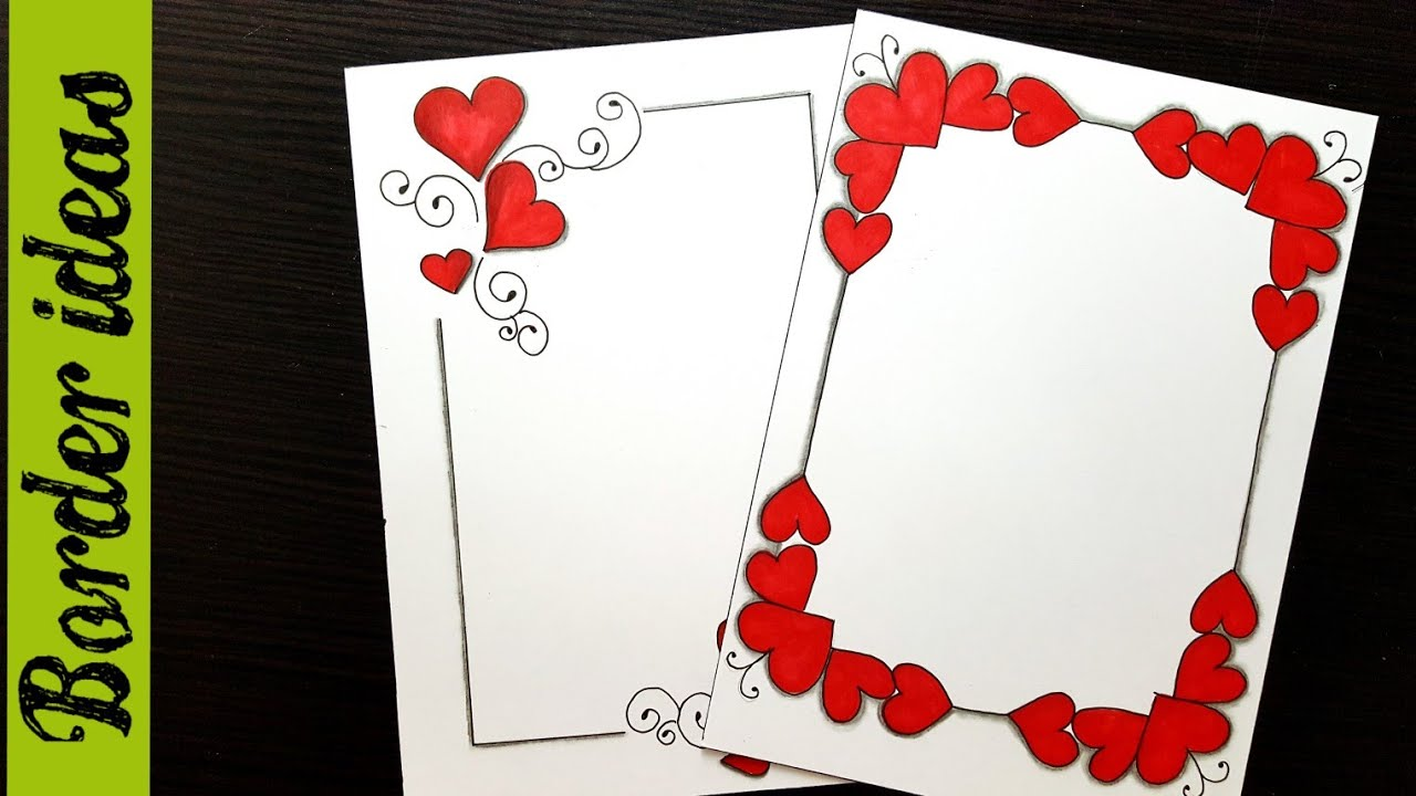 Hearts Border Designs On Paper Border Designs Project Work Designs Borders For Projects Youtube