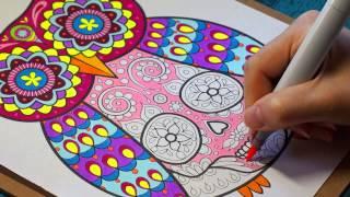 Coloring an Owl Sugar Skull with Thaneeya