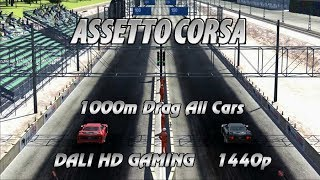 Assetto Corsa 1000m Drag All cars PC Gameplay FullHD 1440p