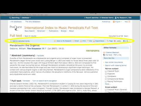 International Index to Music Periodicals Tutorial