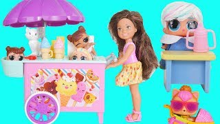 LOL Surprise Dolls Under Wraps Eat Thrilla Barbie Ice Cream Carts Nesting