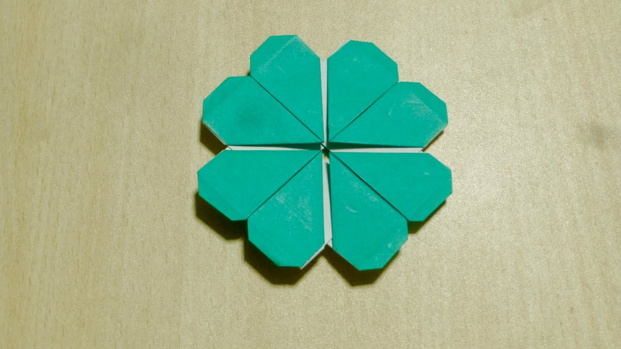 Diy craft how to make four leaves clover origami the for Craft work with paper folding