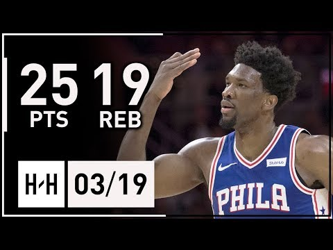 Joel Embiid Full Highlights 76ers vs Hornets (2018.03.19) - 25 Pts, 19 Reb, 4 Blocks