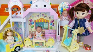 Baby doll slide house and food car toys play - 토이몽