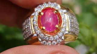 Natural HQ Batu Star Red Ruby Burma Birma Myanmar 1.60 Cts Top Color