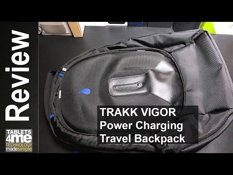 TRAKK VIGOR Water-Resistant Power Charging Travel Backpack