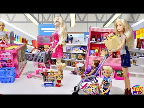 barbie doll supermarket shopping with baby dolls play barbie girl grocery shop