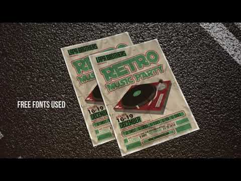 Retro Music Party, Poster Maker, Flyer Creator, Banner Arts