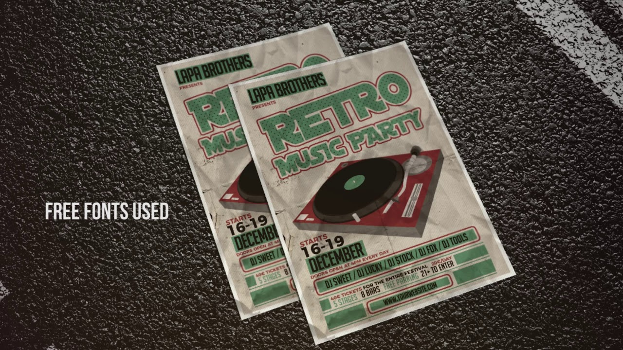 retro music party poster maker flyer creator banner arts youtube