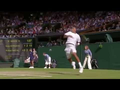 Nick Kyrgios stomps a return v Nadal - Wimbledon