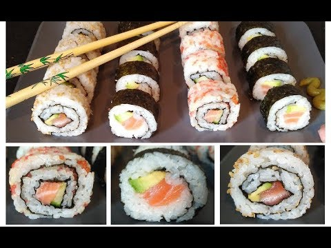 comment faire des sushi maison recette de sushi maki au saumon et rouleaux invers s youtube. Black Bedroom Furniture Sets. Home Design Ideas