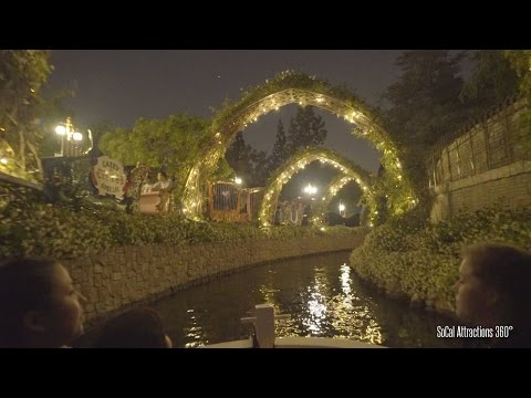 [HD] Beautiful Nighttime Storybook Land Canal Boats Ride-through with NEW Frozen Update - Disneyland