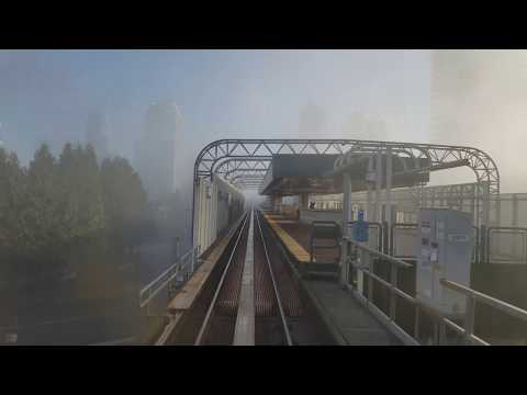 Vancouver SKYTRAIN: REAR SEAT VIEW (FOG) EXPO LINE WESTBOUND Pt. 3 Patterson to Granville Station