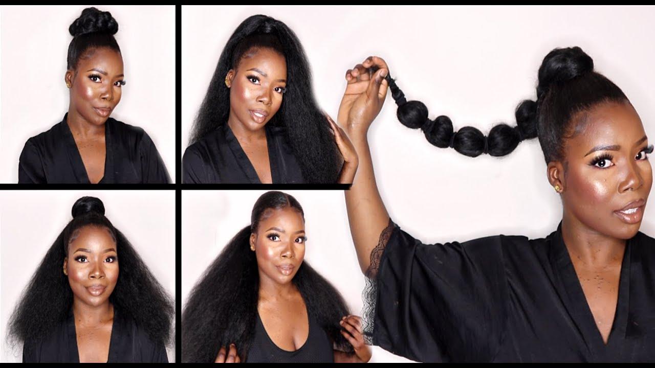 5 Easy Ponytail Hairstyles For Black Women Hair Tutorial Youtube