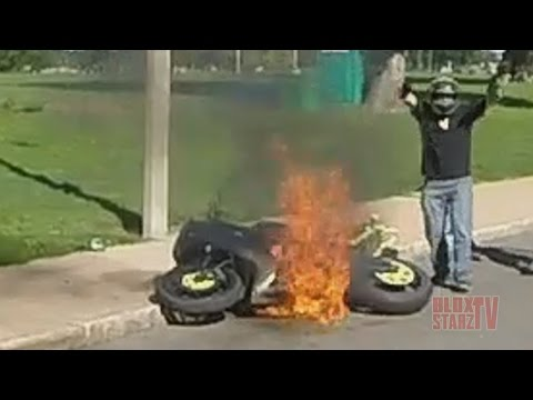 Stunt Bike Riding WHEELIES Catches On FIRE Motorcycle Stunts ROC 2014 Ride Of The Century FAIL VIDEO