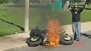 Motorcycle Riding WHEELIES Catches On FIRE Stunt Bike Stunts Ride Of The Century ROC 2014 FAIL VIDEO