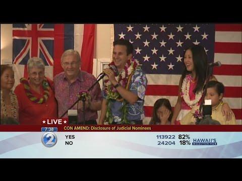 Sen. Brian Schatz addresses the crowd