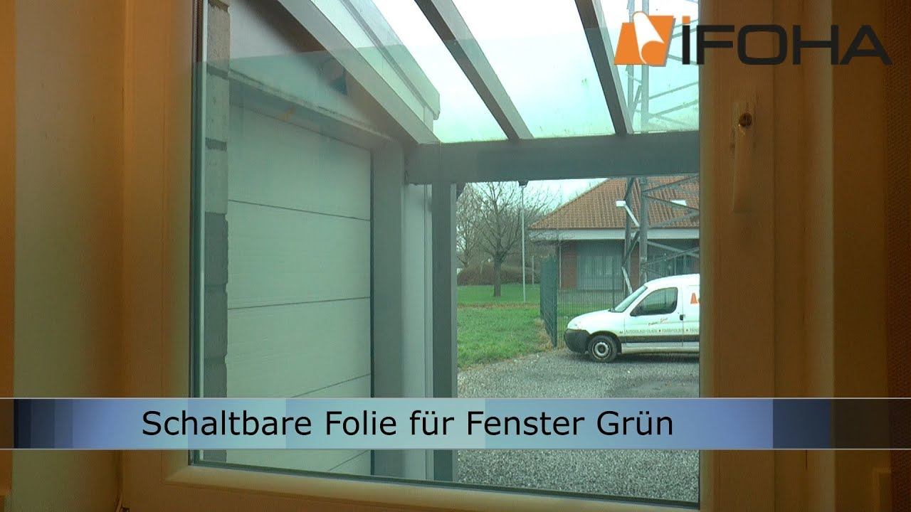 elektrischer sichtschutz f r fenster mit schaltbare folie gr n youtube. Black Bedroom Furniture Sets. Home Design Ideas