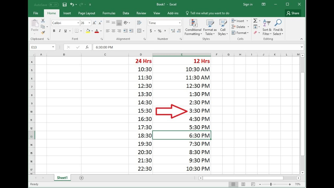How To Convert 24 Hrs 12 Time Formats In Ms Excel Easy