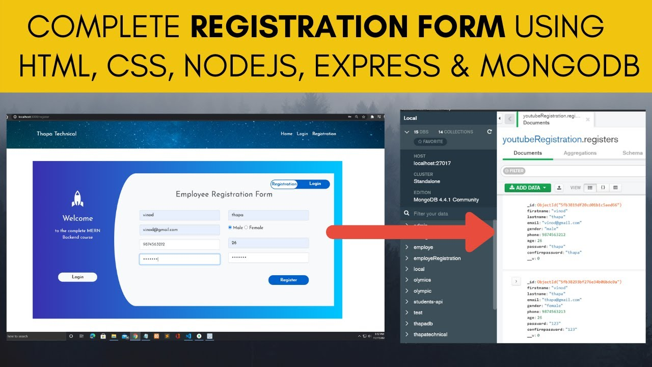 Complete Registration Form using HTML, CSS, Node JS, Express, and MongoDB