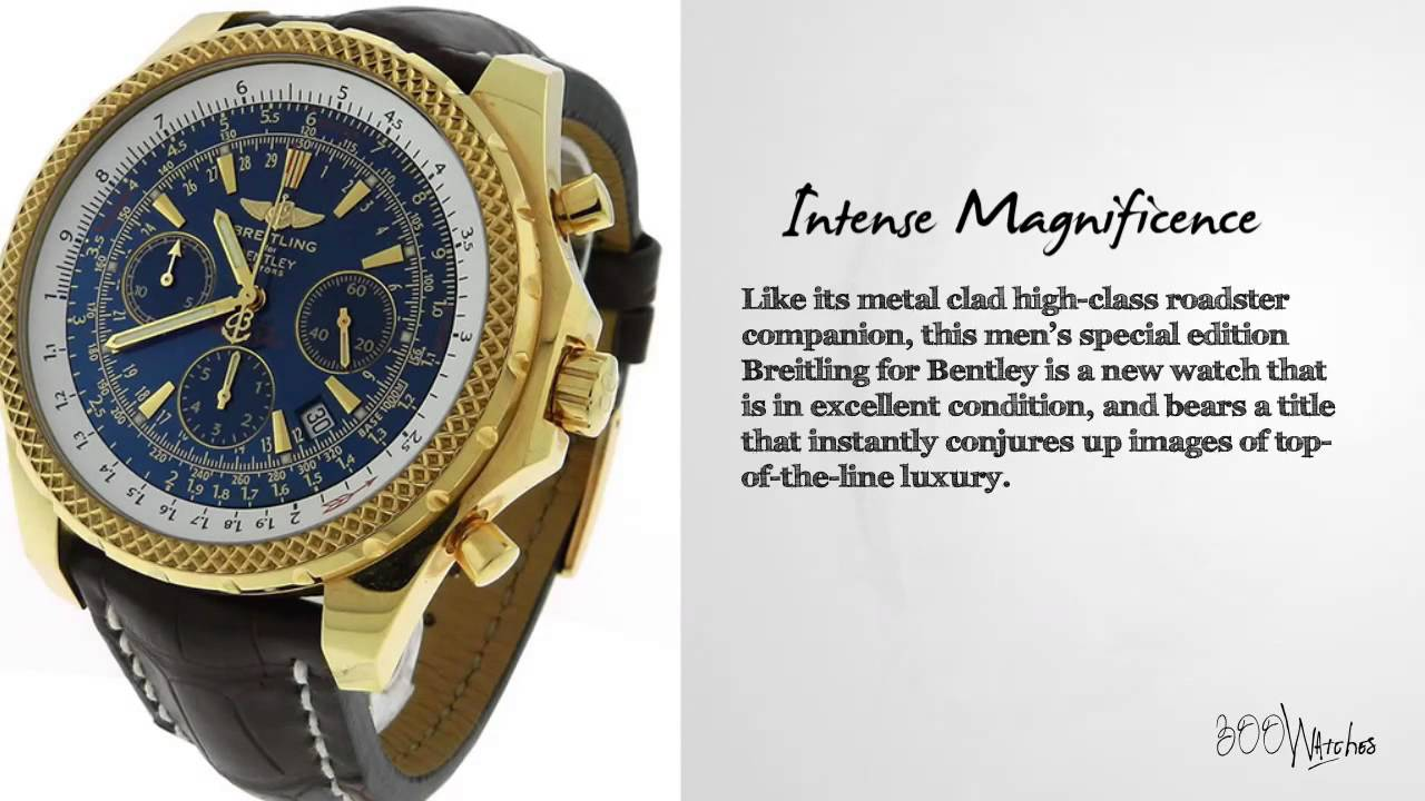 Breitling Bentley Motors 18k Gold Chronograph Watch Youtube