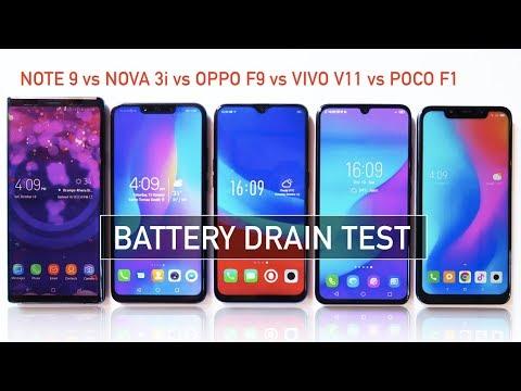 Note 9  Nova 3i  Oppo F9  Vivo V11  Pocophone F1 Battery Drain Test  Zeibiz