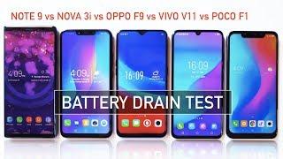 Note 9 / Nova 3i / Oppo F9 / Vivo V11 / Pocophone F1 Battery Drain Test | Zeibiz