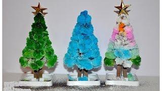 Эксперименты для детей. Выращивание дерева и ёлочки из кристаллов за 6 часов.