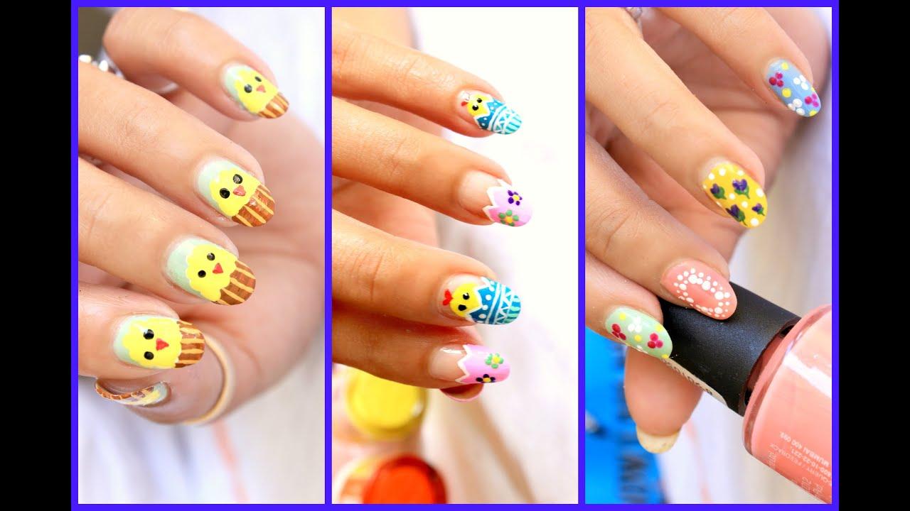 easter nail art 3 cute designs tutorial youtube