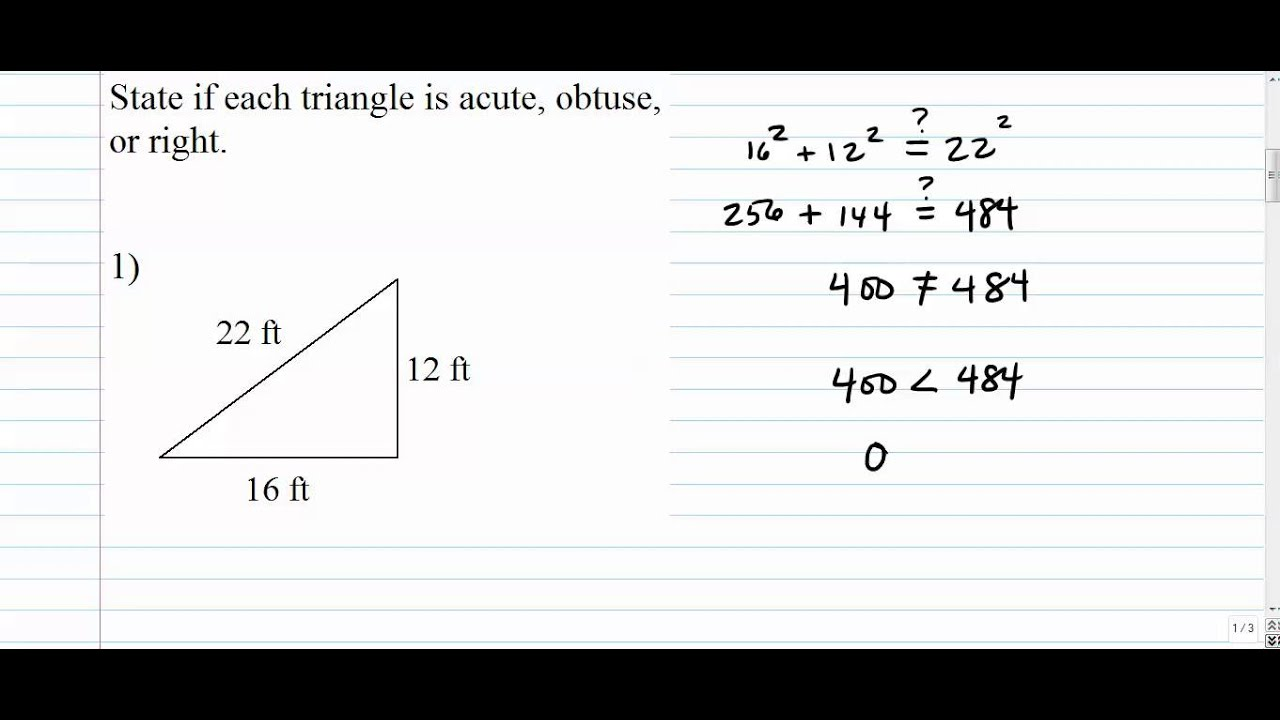 Triangles - Is This Triangle Acute, Obtuse or Right? (Based on ...