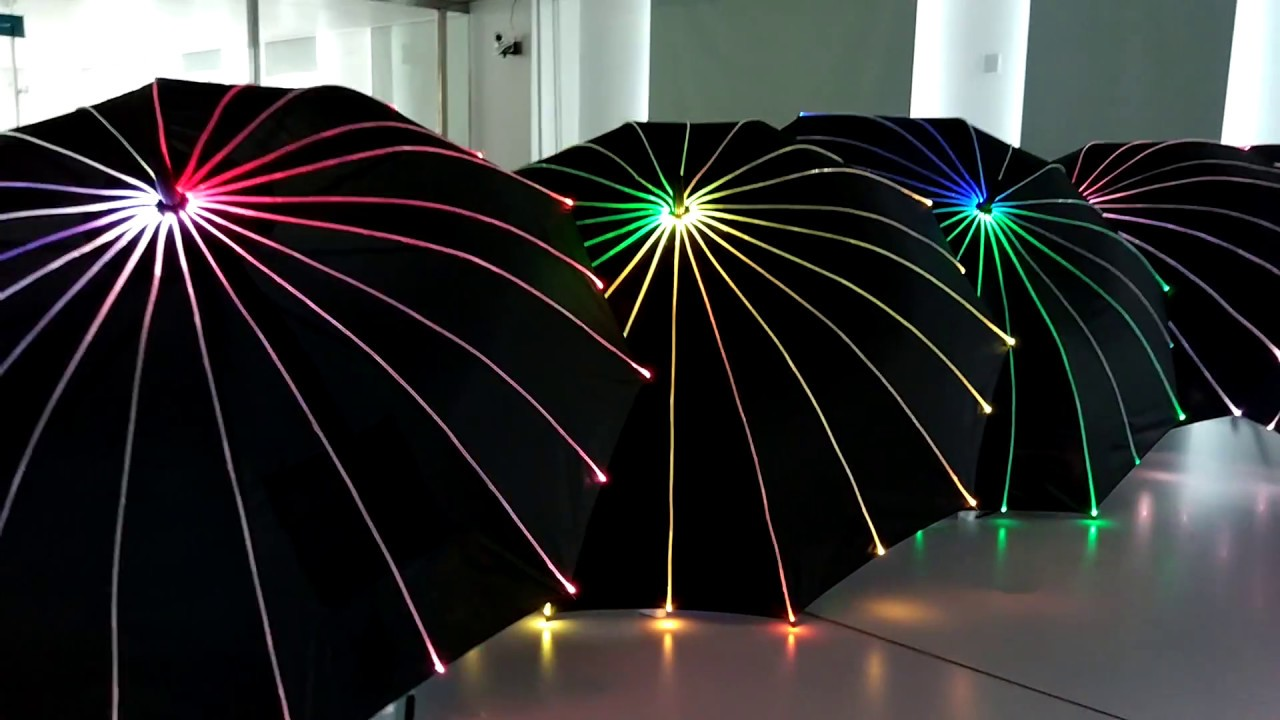Led Light Up Luminous Fiber Optic Umbrella With Handle