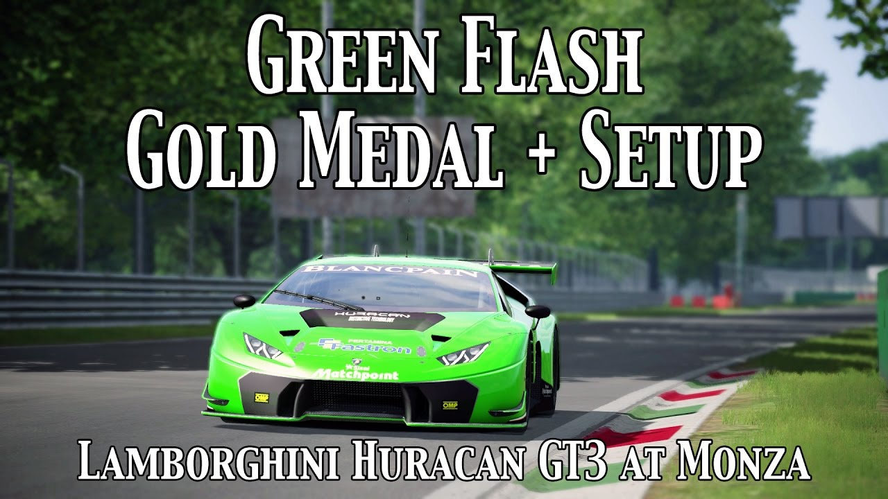 assetto corsa green flash gold medal lamborghini huracan gt3 monza setup youtube. Black Bedroom Furniture Sets. Home Design Ideas