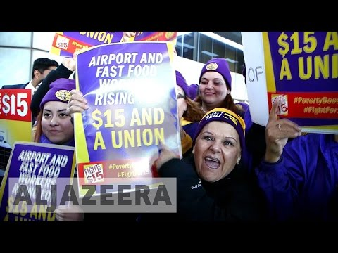 Large US protests call for $15 minimum wage