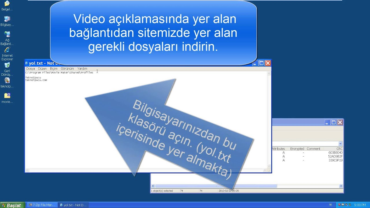 Windows XP altında Movie Maker ile 720p ve 1080p video kaydetmek