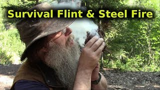 Survival Flint And Steel Fire Lighting Method