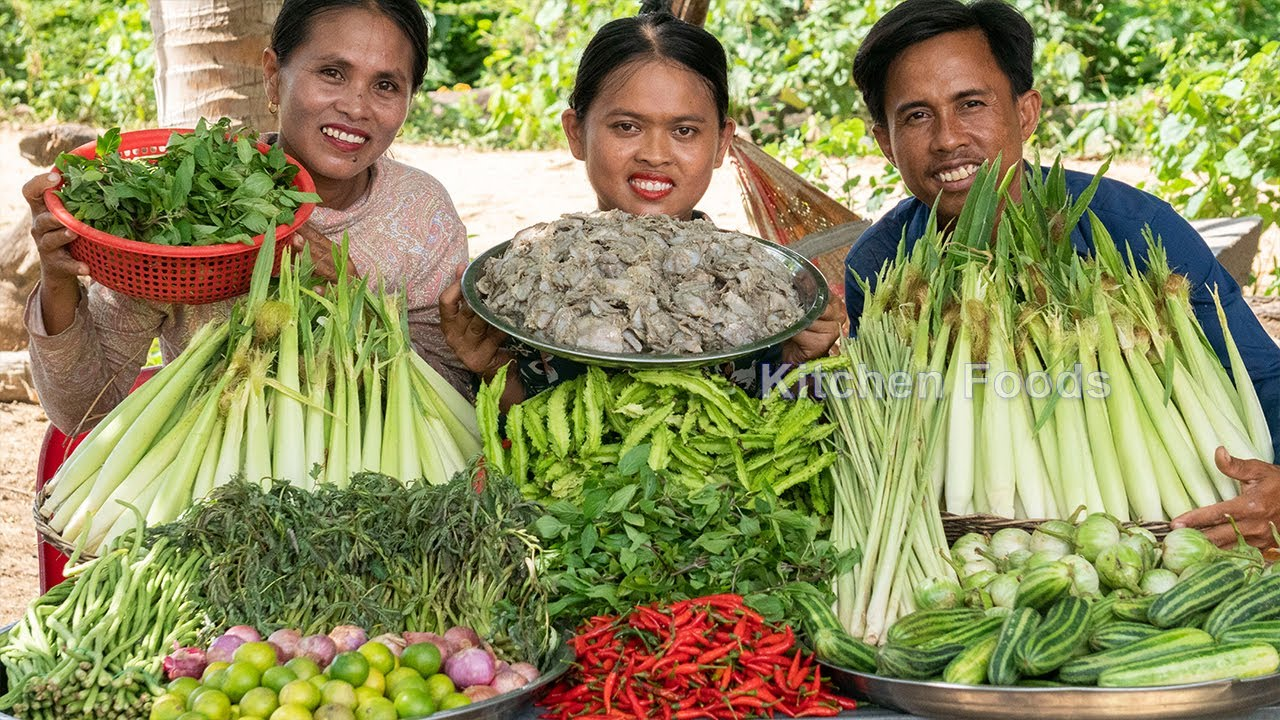 Chopped SPICY RAW Fish Paste for Eating with Many Green Vegetable Recipe - Donation Food in Village