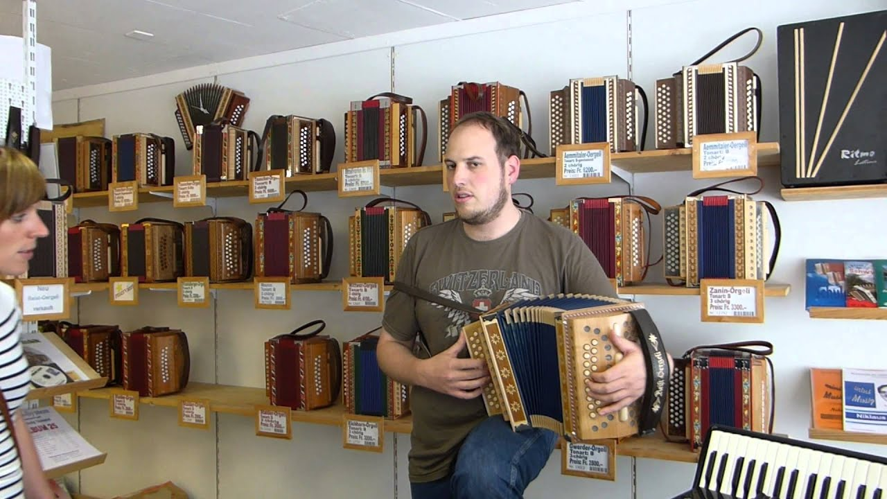 Playing the Swiss Accordion in Emmental, Switzerland