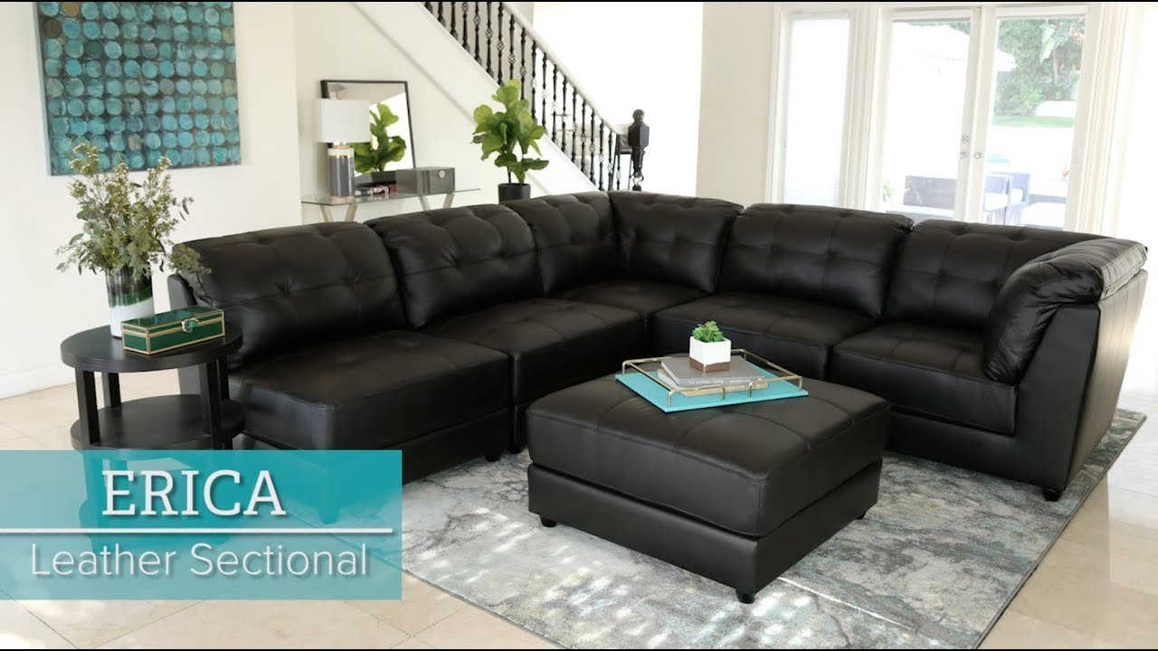 abbyson erica black leather sectional